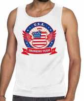 Wit usa drinking team tanktop mouwloos shirt heren trend