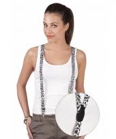 Witte bretel met luipaard print trend