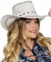 Witte cowboyhoed elroy lederlook voor volwassenen trend