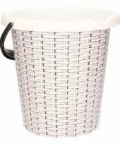 Witte emmer met rotan print 12 liter trend