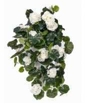 Witte geranium kunstplant hangplant 70 cm trend