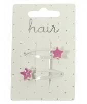 Witte haarspeldjes met roze sterren 2 stuks trend