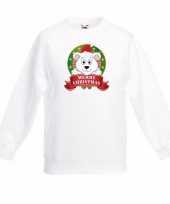 Witte kerst sweater kinderen met een ijsbeer trend