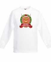 Witte kerst sweater kinderen met rendier rudolf trend
