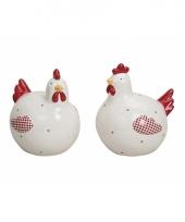 Witte kippen deco beeldje 13 cm trend