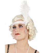 Witte pailletten hoofdband met veer trend