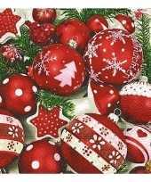 Witte servetten met kerstballen 20 stuks trend
