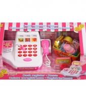 Witte speelgoed kassa met boodschappen trend