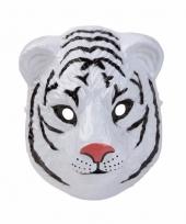 Witte tijger masker 3d plastic 22cm trend