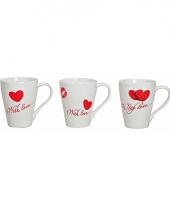 Witte valentijn beker met hartjes trend