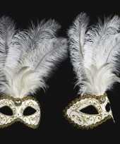Witte veren oogmasker handgemaakt trend