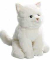 Witte zittende pluche kat 22 cm trend