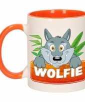 Wolven theebeker oranje wit wolfie 300 ml trend