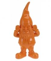 Woondecoratie kabouter oranje 28 cm trend