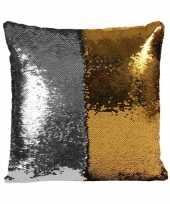 Woonkussen met pailletten zilver goud 40 cm trend