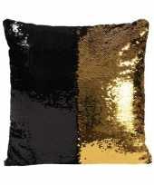 Woonkussen met pailletten zwart goud 40 cm trend