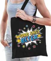 Word snel beter katoenen beterschap cadeau tas zwart voor dames trend