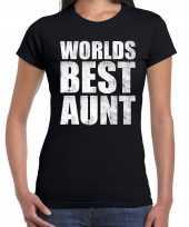 Worlds best aunt tante cadeau t-shirt zwart voor dames trend