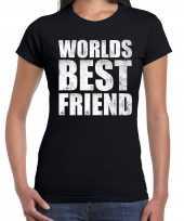 Worlds best friend cadeau t-shirt zwart voor dames trend