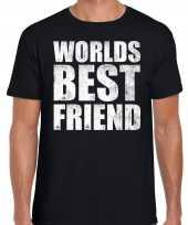 Worlds best friend cadeau t-shirt zwart voor heren trend