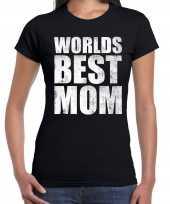 Worlds best mom cadeau t-shirt zwart voor dames trend