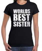 Worlds best sister cadeau t-shirt zwart voor dames trend
