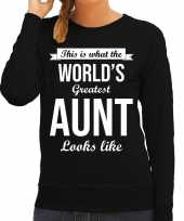 Worlds greatest aunt tante cadeau sweater zwart voor dames trend