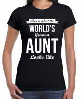 Worlds greatest aunt tante cadeau t-shirt zwart voor dames trend