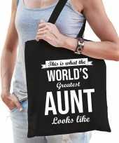 Worlds greatest aunt tante cadeau tas zwart voor dames trend