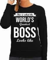 Worlds greatest boss baas cadeau sweater zwart voor dames trend