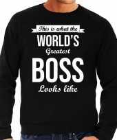 Worlds greatest boss cadeau sweater zwart voor heren trend