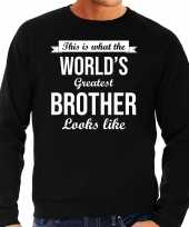 Worlds greatest brother cadeau sweater zwart voor heren trend