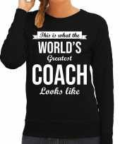 Worlds greatest coach cadeau sweater zwart voor dames trend