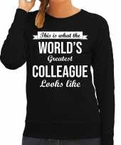 Worlds greatest colleague collega cadeau sweater zwart voor dames trend