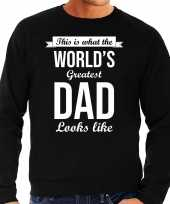 Worlds greatest dad cadeau sweater zwart voor heren trend