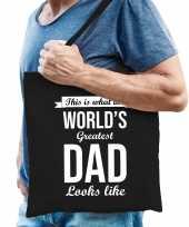 Worlds greatest dad cadeau tas zwart voor heren trend