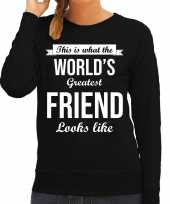 Worlds greatest friend vriendin cadeau sweater zwart voor dames trend