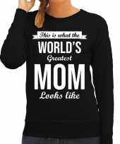 Worlds greatest mom cadeau sweater zwart voor dames trend