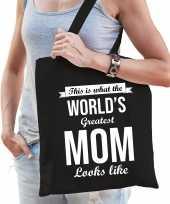 Worlds greatest mom moeder cadeau tas zwart voor dames trend