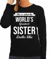 Worlds greatest sister zus cadeau sweater zwart voor dames trend