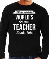 Worlds greatest teacher cadeau sweater zwart voor heren trend