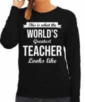 Worlds greatest teacher lerares cadeau sweater zwart voor dames trend