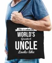 Worlds greatest uncle oom cadeau tas zwart voor heren trend