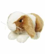 Zacht knuffel konijntje bruin wit 18 cm trend