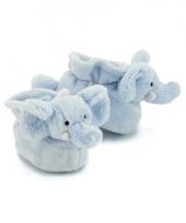 Zachte blauwe babysloffen olifant trend