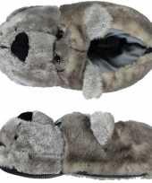 Zachte dieren sloffen pantoffels grijze beer voor dames trend