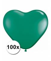 Zak met 100 groene hart ballonnen 15 cm trend