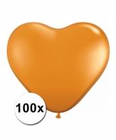 Zak met 100 oranje hart ballonnen 15 cm trend