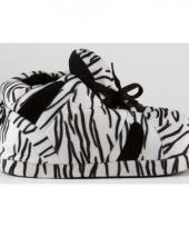 Zebra pantoffels zwart wit voor dames trend