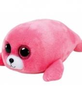 Zeehonden knuffel ty beanie roze 15 cm trend